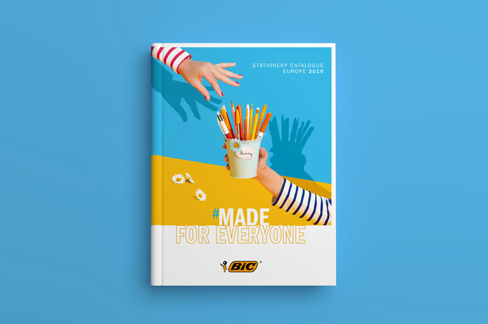 Création couverture catalogue produit bic Stationery