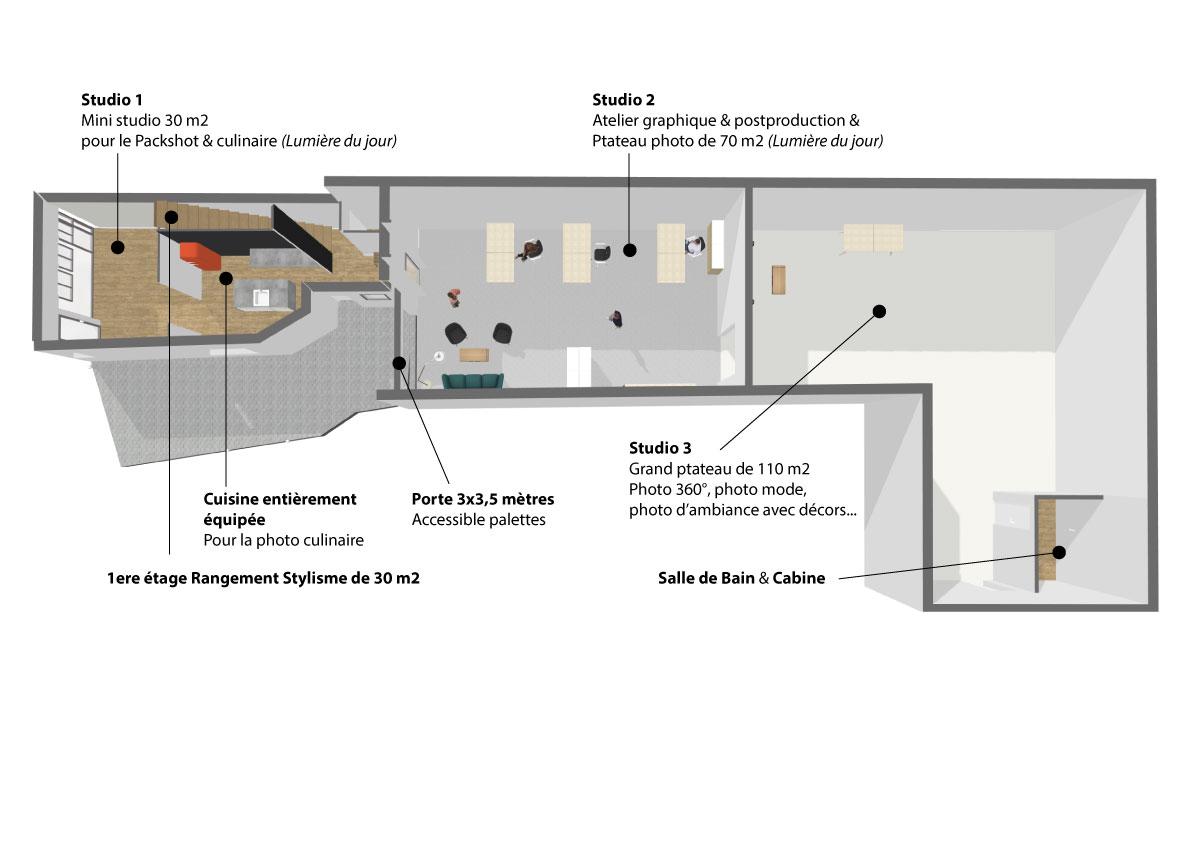 Plan studio photo Le Garage en 3D